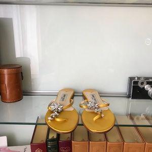 Jimmy Choo satin & crystals sandals size 38